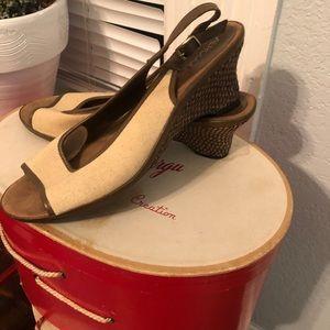 GUC Peep Toe Ankle Strap Wedge Heels
